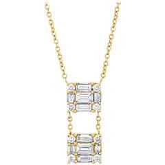 MMNY 18 Karat Gold Clarity Dual Cube Diamond Pendant Necklace