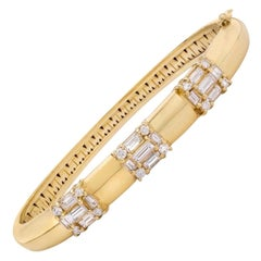 MMNY 18 Karat Yellow Gold Diamond Clarity Bangle Bracelet