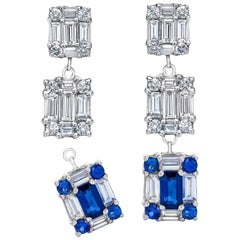 Mindi Mond 18 Karat Gold Diamond Sapphire Detachable Stunning Dangling Earrings