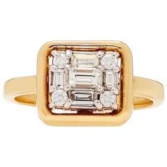 MMNY Clarity Cube Diamond 18 Karat Gold Framed Ring