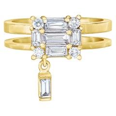 MMNY Clarity Diamond Double Shank Floating 18 Karat Yellow Gold Ring