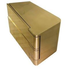 Handcrafted Polished Brass Bedside nightstand or side cabinet tables