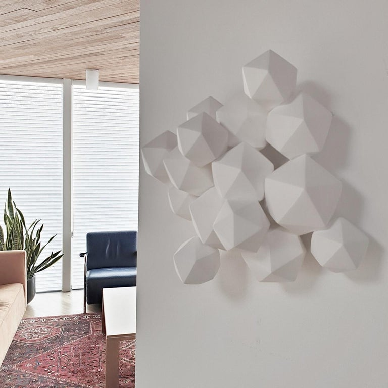 Halfway - contemporary modern abstract geometric ceramic wall sculpture - Sculpture by Mo Cornelisse