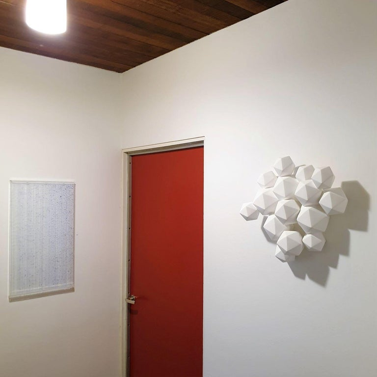Halfway - contemporary modern abstract geometric porcelain wall sculpture - Sculpture by Mo Cornelisse