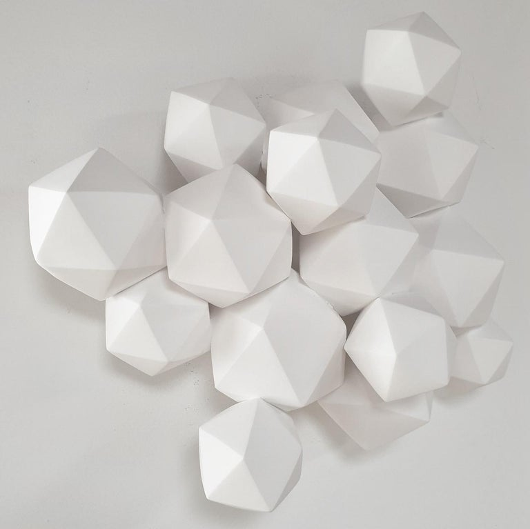 Halfway - contemporary modern abstract geometric ceramic wall sculpture - Abstract Geometric Sculpture by Mo Cornelisse