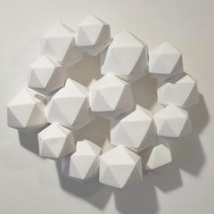 Halfway - contemporary modern abstract geometric ceramic wall sculpture