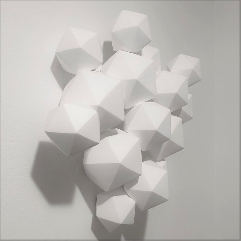 Halfway - contemporary modern abstract geometric porcelain wall sculpture - Abstract Geometric Sculpture by Mo Cornelisse
