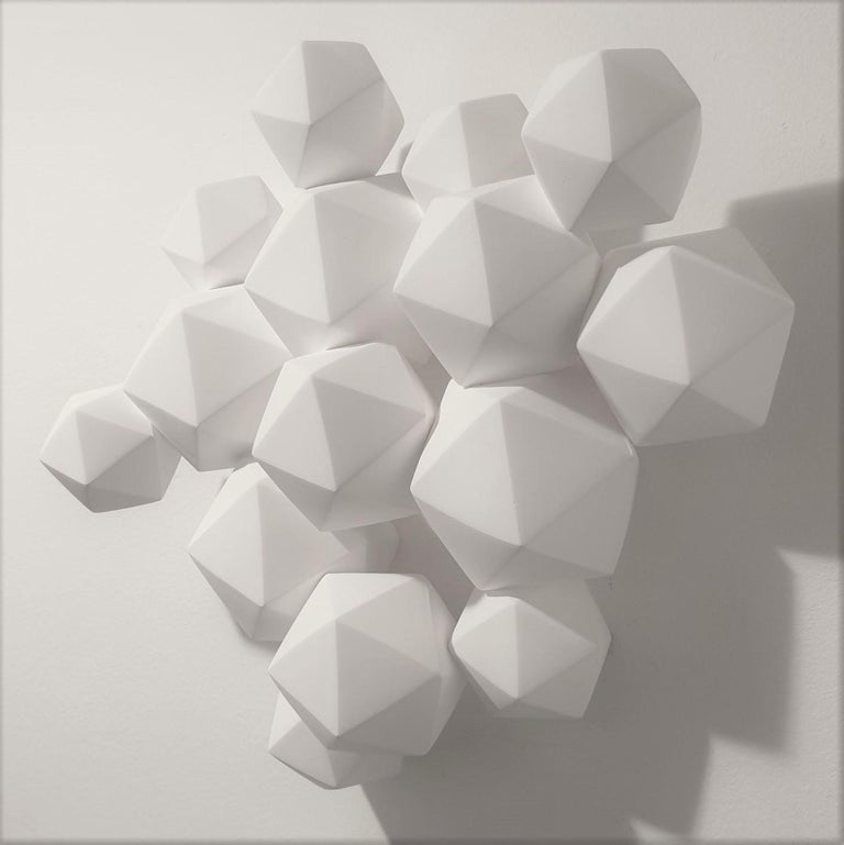 Halfway - contemporary modern abstract geometric porcelain wall sculpture - Gray Abstract Sculpture by Mo Cornelisse