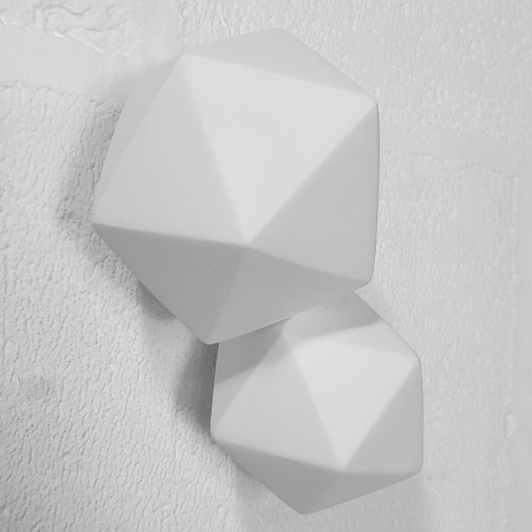 Icosahedron 2 - contemporary modern abstract geometric ceramic wall sculpture - Sculpture by Mo Cornelisse