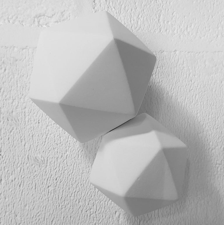Mo Cornelisse Abstract Sculpture - Icosahedron 2 - contemporary modern abstract geometric ceramic wall sculpture