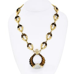 MOBA 18K Yellow Gold Unusual Tribal Style 1970's Tiger Eye Diamond Link Necklace