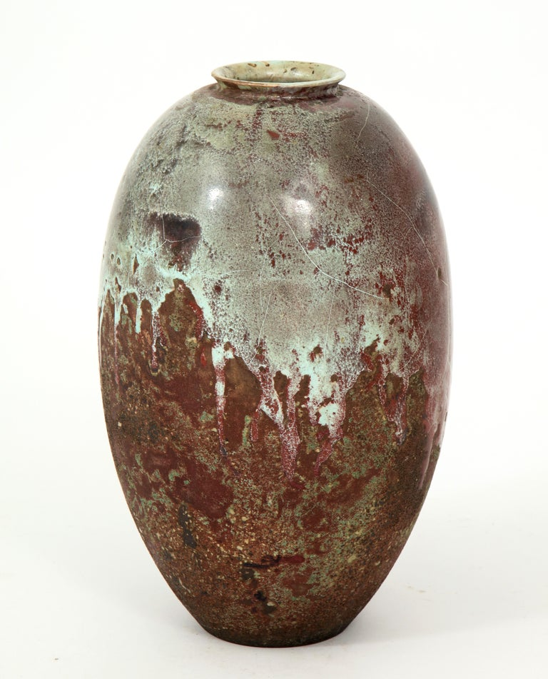Glazed Mobach Dutch Ceramic Vase, circa 1930s by J. H. Andree For Sale