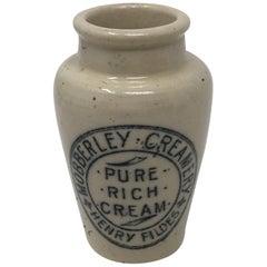 Mobberley Creamery Pure Rich Cream Blue Transfer Ironstone Jar