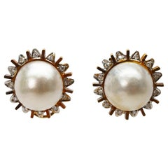 Mobe Pearl Diamond Rose Gold Sunburst Stud Earrings