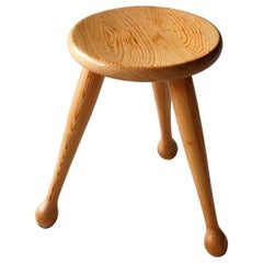 Möbelkompaniet Ahl & Wallén, Stool, Light Solid Pine, Sweden, 1960s