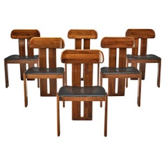 Mobil Girgi Set of Six Italian Dining Chairs in Black Leather and Walnut
