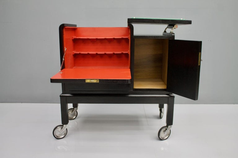 Mobile Art Deco Bar Cart, 1940s For Sale 4
