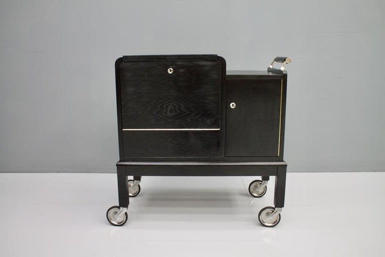 Mobile Art Deco Bar Cart, 1940s For Sale 6