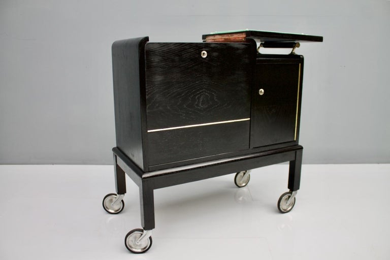 Mobile Art Deco Bar Cart, 1940s For Sale 7