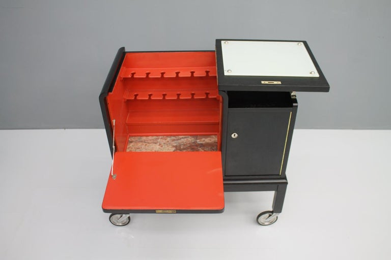 Mobile Art Deco Bar Cart, 1940s For Sale 10