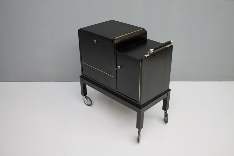 Metal Mobile Art Deco Bar Cart, 1940s For Sale