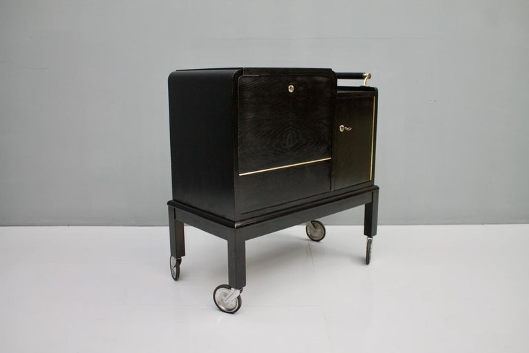 Mobile Art Deco Bar Cart, 1940s For Sale 3