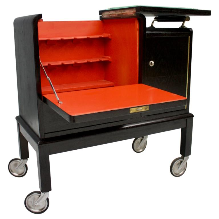 Mobile Art Deco Bar Cart, 1940s For Sale
