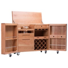 Mobile Expandable Bar Wine Cabinet in Cherrywood and Stainless Steel, Naihan Li