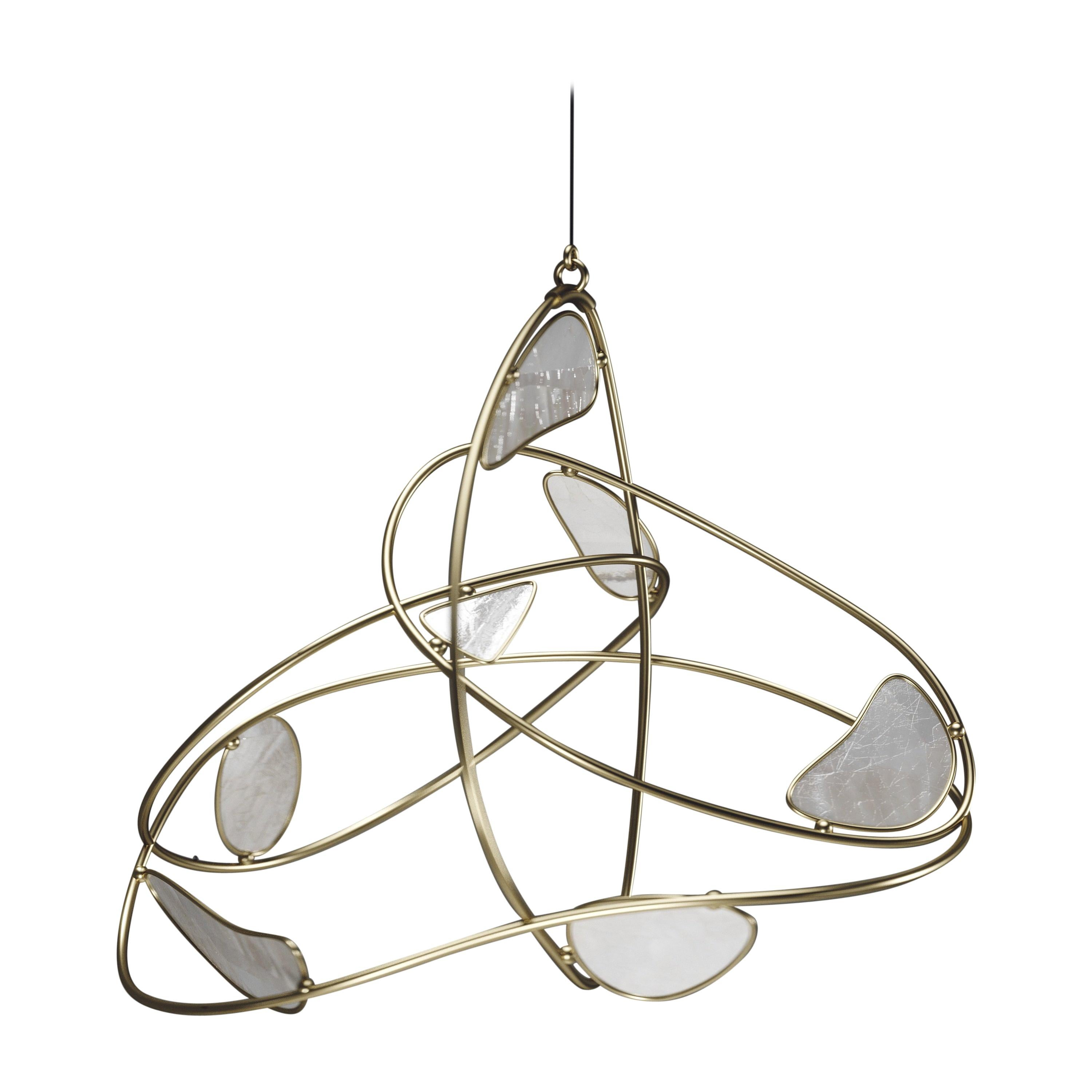 Mobile in Bronze-Patina Brass and Mother of Pearl by Kifu Paris