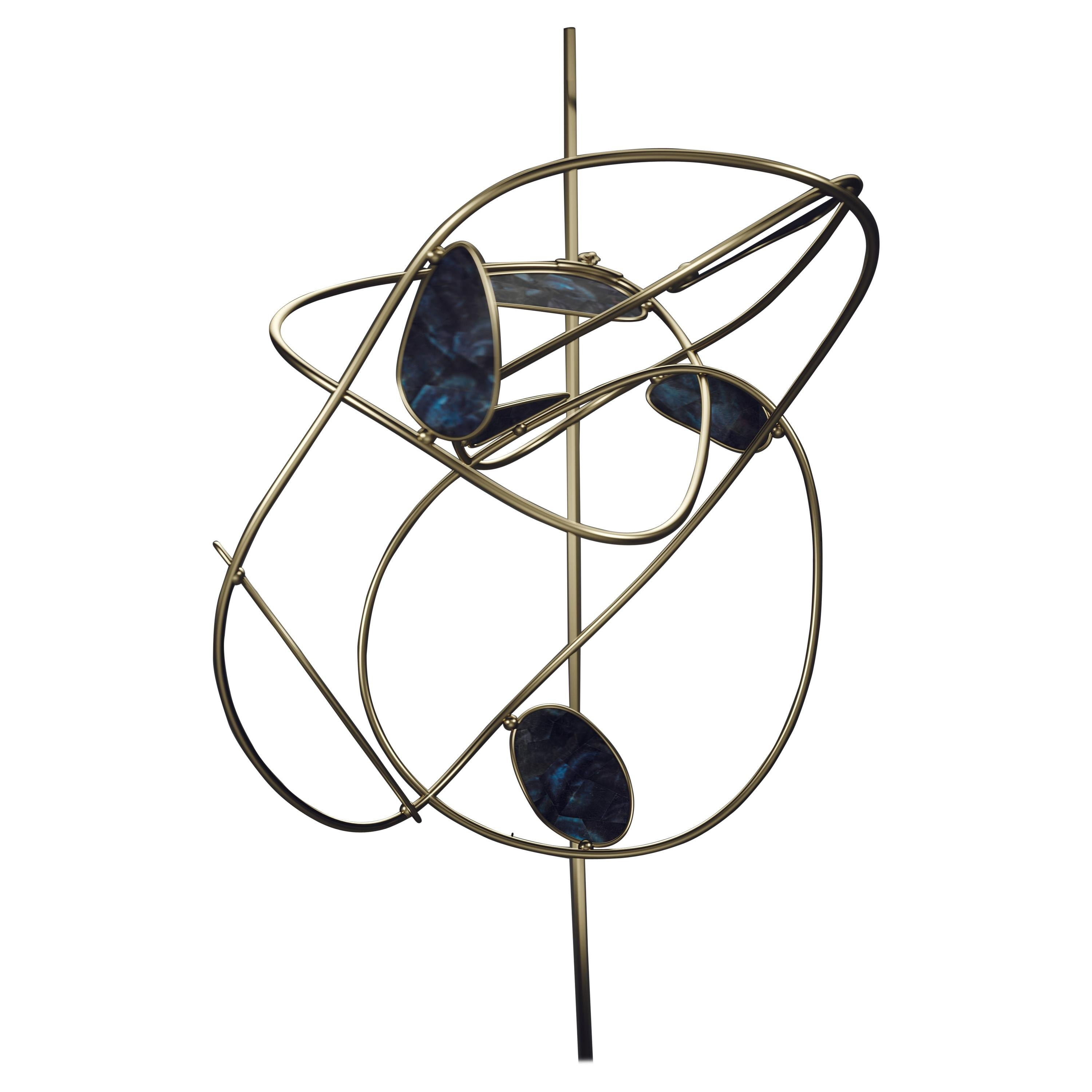 Mobile in Bronze-Patina Brass and Shell by Kifu Paris