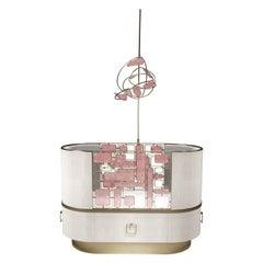 Mobile in Rose Quartz and Bronze-Patina Brass by Kifu Paris