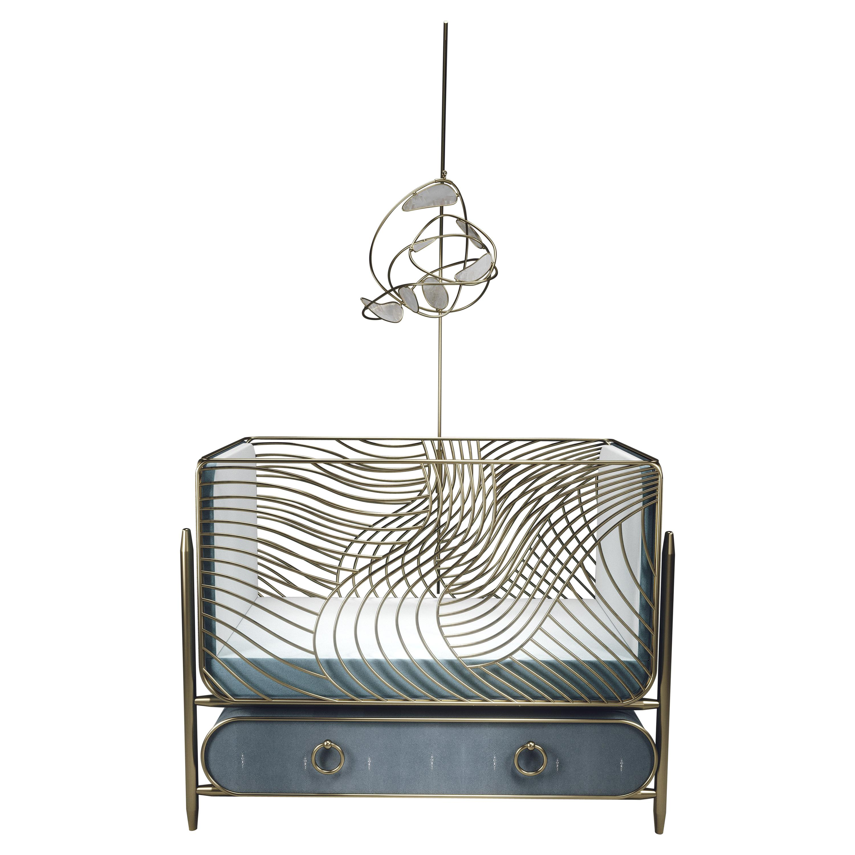 Mobile in White Quartz and Bronze-Patina Brass by Kifu Paris