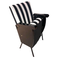 Mobile Midcentury Cinema Chair, Black and White, Restored, Germany, 1950s