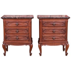 Mobili Barovero Italian Provincial Carved Walnut Marble Top Nightstands, Pair