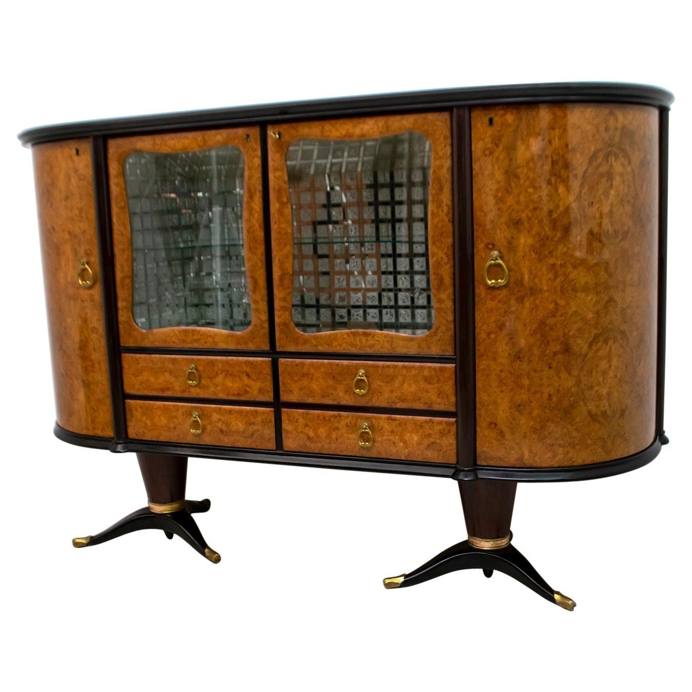 Paolo Buffa Mid-Century Modern Italian Mahogany and Walnut Bar Cabinet, 1950s