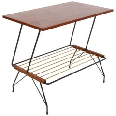 Mobili Pizzetti Midcentury Italian Coffee Table with Brass Magazine Rack, 1950s