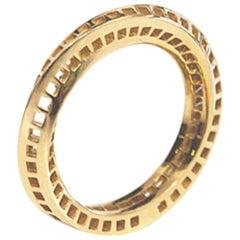 18 Karat Yellow Gold Mobius Band - Squares Holes (without diamonds)