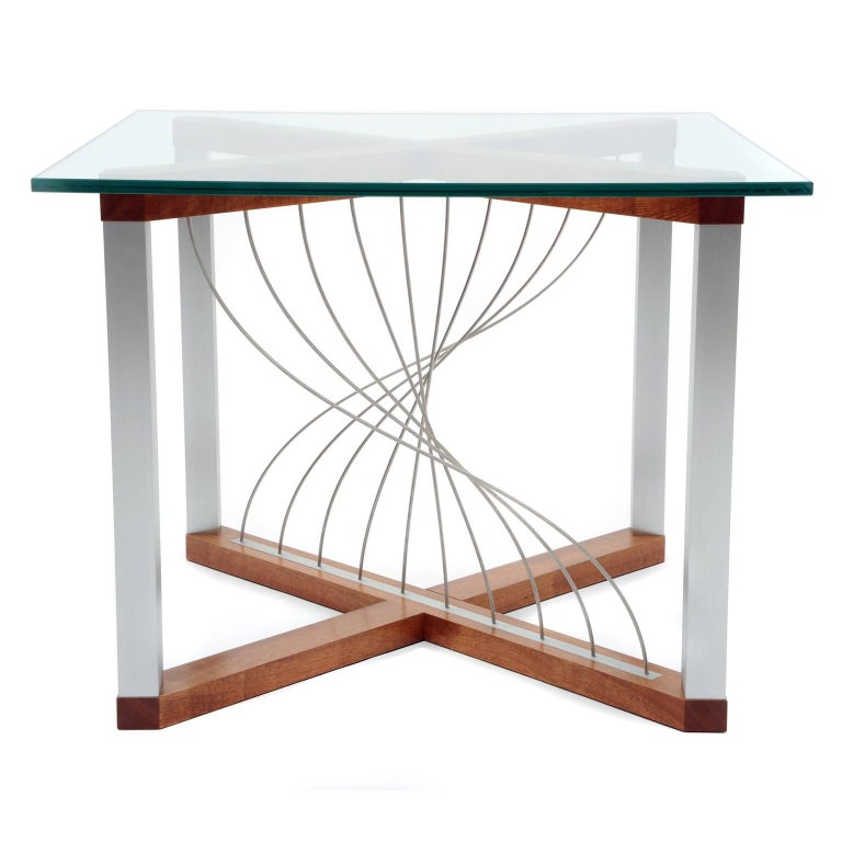 Mobius, Handmade Modern Industrial End/Side Table with Metal and Mahogany Wood For Sale