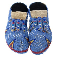 Moccasins, Early 20th Century, Sioux, Plains Indian, Pictorial Bead Work, Tepees