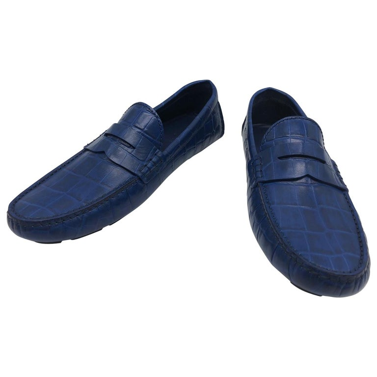 ab7b58b4e96 Louis vuitton Men Loafers in blue crocodile stylished leather   New! For  Sale