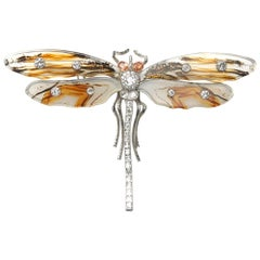 Mocha Agate, Diamond, Padparadscha Sapphire and White Gold Dragonfly Brooch