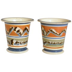 Mocha Creamware Pottery Pair of Cachepots with Earthworm Design