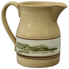 Mocha Decorated Yellow Ware Batter Jug by East Knoll Pottery, 20th Century
