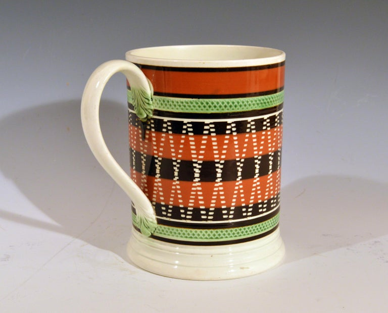 Folk Art Mocha Pottery Banded Engine-Turned Pearlware Tankard, circa 1820 For Sale