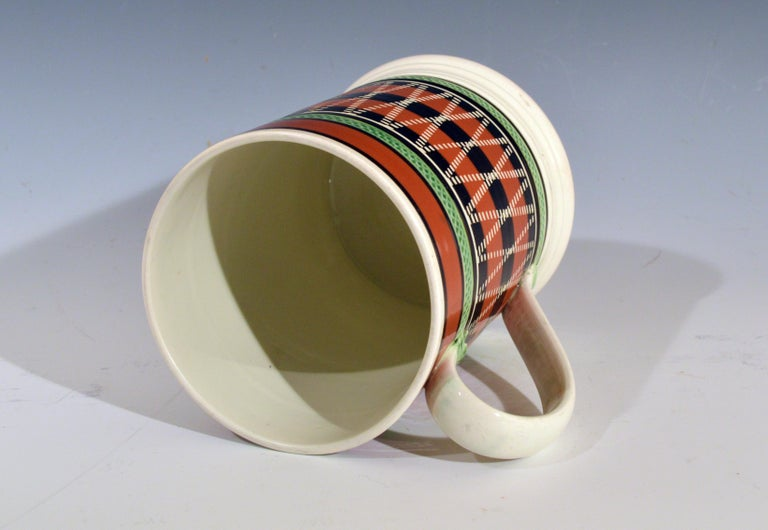 English Mocha Pottery Banded Engine-Turned Pearlware Tankard, circa 1820 For Sale
