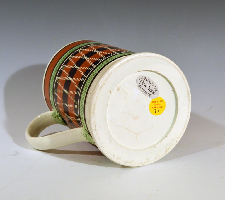 Mocha Pottery Banded Engine-Turned Pearlware Tankard, circa 1820 In Good Condition For Sale In Downingtown, PA