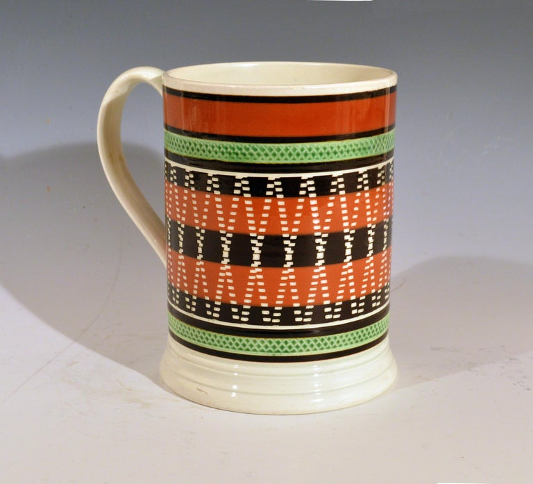19th Century Mocha Pottery Banded Engine-Turned Pearlware Tankard, circa 1820 For Sale