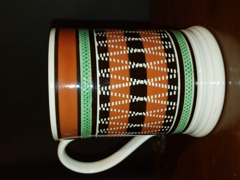 Ceramic Mocha Pottery Banded Engine-Turned Pearlware Tankard, circa 1820 For Sale