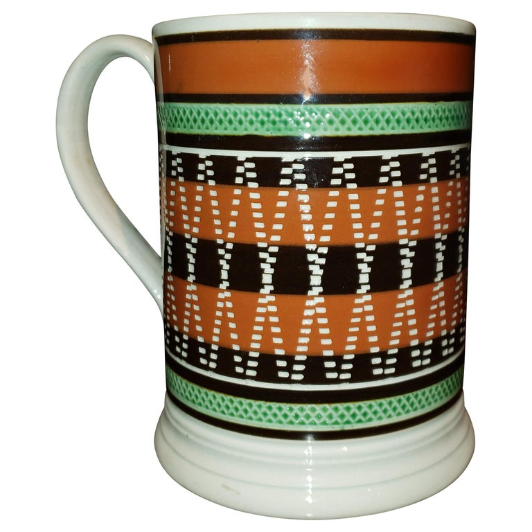 Mocha Pottery Banded Engine-Turned Pearlware Tankard, circa 1820 For Sale