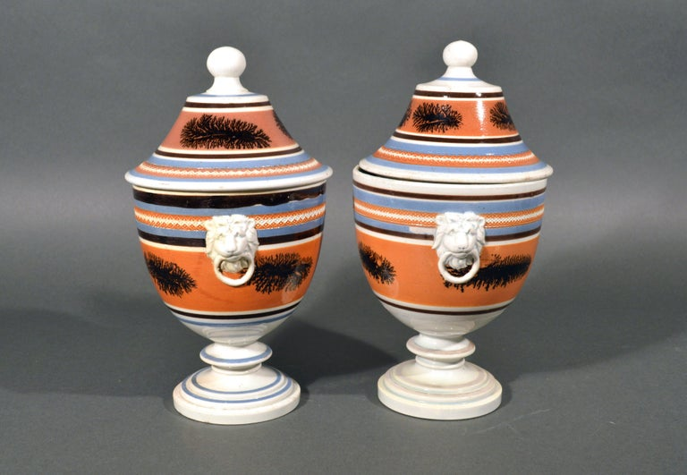 Mocha Pottery Covered Urns with Lion-Head Handles, circa 1825 In Good Condition For Sale In Downingtown, PA